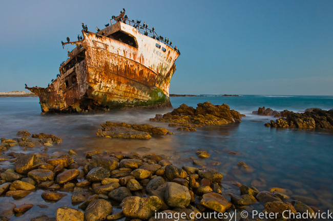 agulhas shipwreck low tide by wildlife and conservation photographer Peter Chadwick